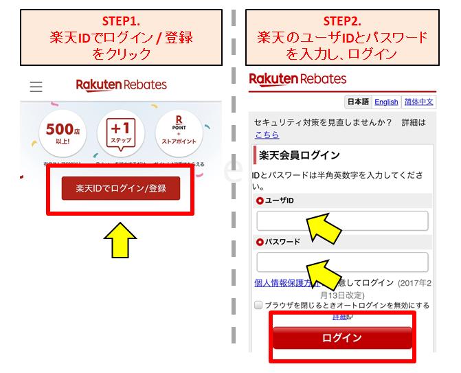 楽天Rebatesの登録方法