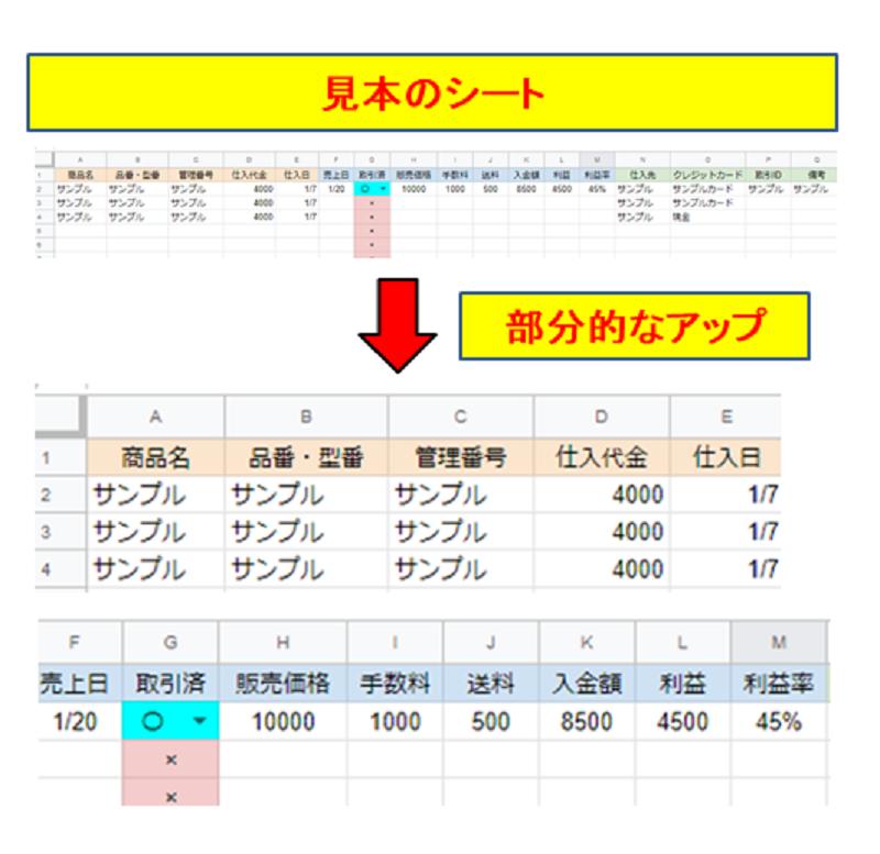 在庫売上管理表のサンプル